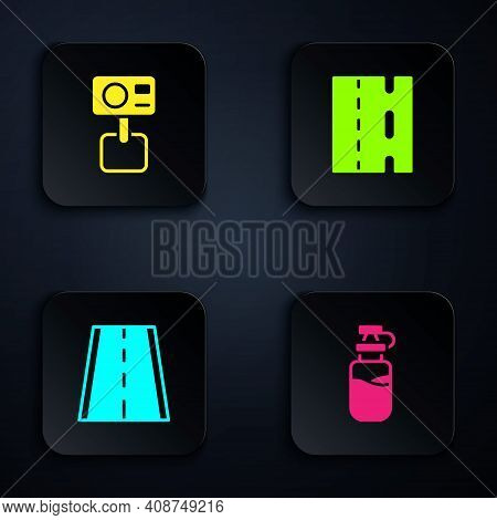 Set Sport Bottle With Water, Action Extreme Camera, Bicycle Lane And . Black Square Button. Vector