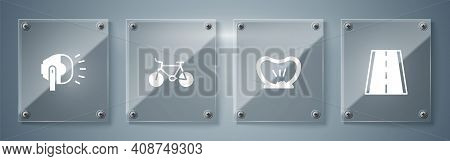 Set Bicycle Lane, Punctured Tire, And Head Lamp. Square Glass Panels. Vector