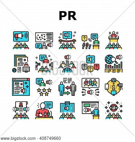Pr Public Relations Collection Icons Set Vector. Pr Strategy And Events, Interview And Press Release