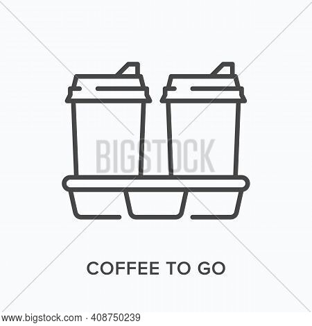 Coffee To Go Flat Line Icon. Vector Outline Illustration Of Two Paper Cup And Cupholder . Black Thin