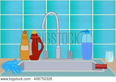 Kitchen Sink With Faucet, Dish Detergent, Soap, Gloves And Sponge. Cuisine With Tile Wall, Sink And