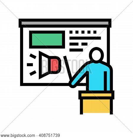 Presentation Pr Color Icon Vector. Presentation Pr Sign. Isolated Symbol Illustration