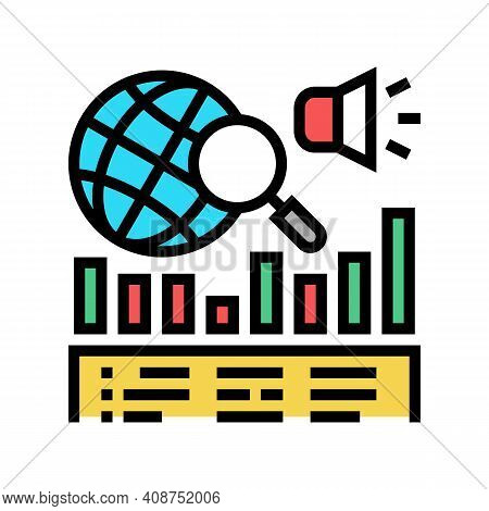 News Coverage Analysis Color Icon Vector. News Coverage Analysis Sign. Isolated Symbol Illustration