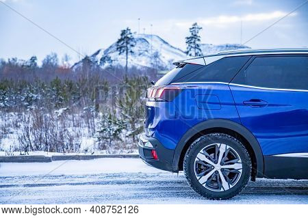 Moscow, Russia - March 15, 2020: Back Of Blue Suv Peugeot 3008 On On Winter Landscape