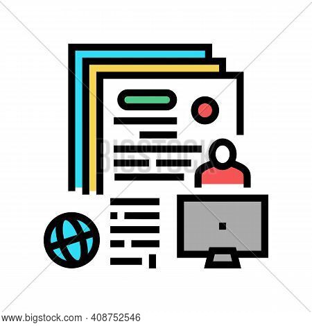 Writing Press Release Color Icon Vector. Writing Press Release Sign. Isolated Symbol Illustration