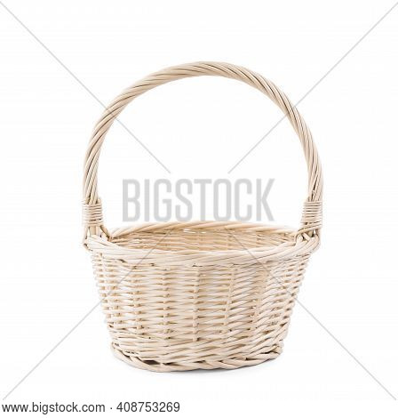 Light Decorative Wicker Basket Isolated On White