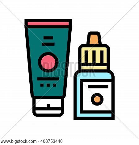 Serum And Cream Beauty Cosmetics Color Icon Vector. Serum And Cream Beauty Cosmetics Sign. Isolated