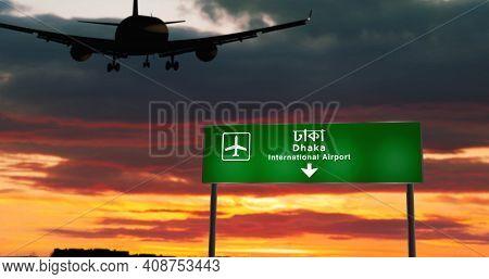 Plane Landing In Dhaka Bangladesh Airport With Signboard