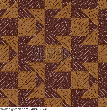 Vector Geometric Triangle Square Tile Textured Seamless Pattern Background.monochrome Brown Backdrop