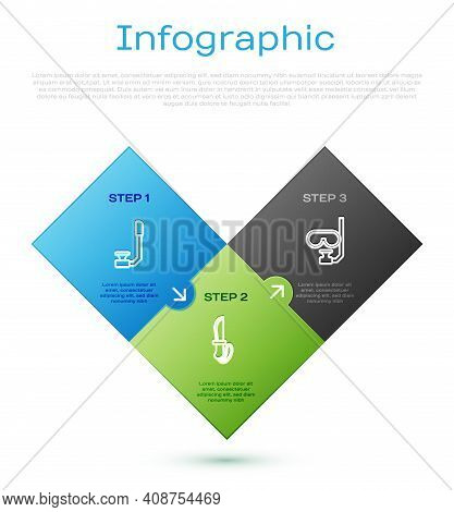 Set Line Snorkel, Diving Mask And Snorkel And Knife. Business Infographic Template. Vector