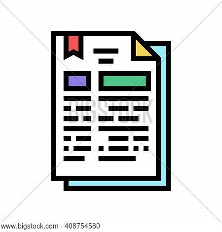 Protocol Document Color Icon Vector. Protocol Document Sign. Isolated Symbol Illustration