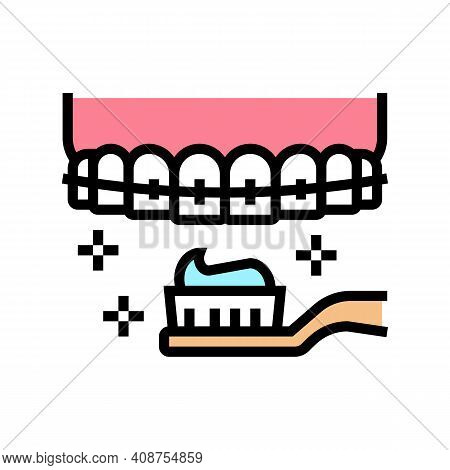 Care And Cleaning Tooth Braces Color Icon Vector. Care And Cleaning Tooth Braces Sign. Isolated Symb