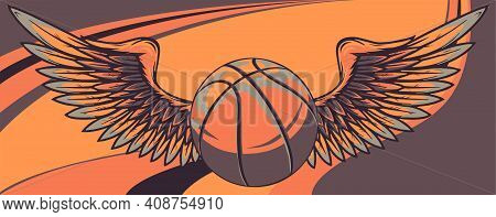 Basket Ball With Wings Vector Illustration Graphic