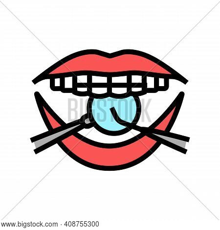 Checking Tooth Braces Color Icon Vector. Checking Tooth Braces Sign. Isolated Symbol Illustration