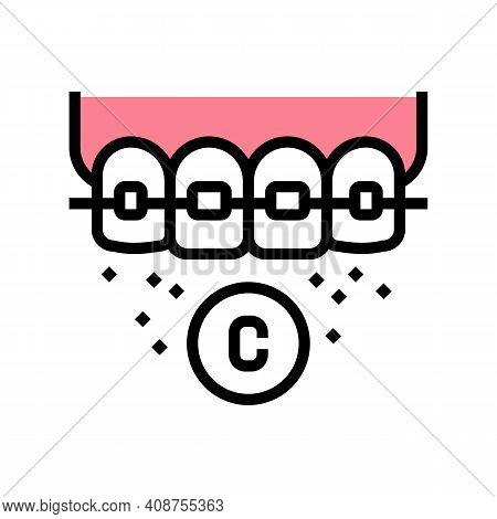 Ceramic Material Tooth Braces Color Icon Vector. Ceramic Material Tooth Braces Sign. Isolated Symbol