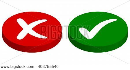 Buttons Input Output, Rejected Approved, Vector Cross Mark And Check Mark, Green Start, Red Stop But