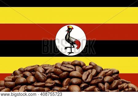 Roasted Coffee Beans On The Background Of The Flag Of Uganda. Concept: Best Flavored Coffee, Export