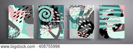 Colorful Geometric Poster. Grid With Colored Geometric Shapes. Modern Abstract Advertising Flyers Ba