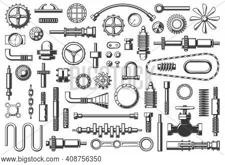 Machine Parts Vector Icons Chain, Pipe And Coupling, Gear Or Pinion. Monochrome Clamp, Nut, Cranksha