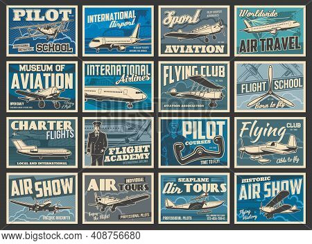 Planes, Flying Aircraft, Flight Aviation Academy, Vintage Retro Vector Posters. Air Travel And Inter