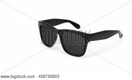 Clothes, Shoes And Accessories - Black Modern Sunglasses With Black Lenses On A White Background.