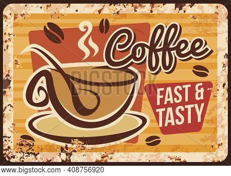 Takeaway Coffee Cafe, Coffeehouse Rusty Metal Plate. Glass Cup With Hot Drink And Sugar Spoon Vector