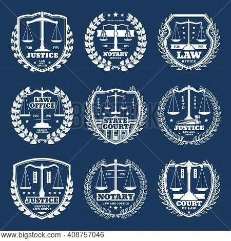 Notarial Office Vector Icons, Notary Service With Scales, Shields, Judge Hammer And Court Buildings