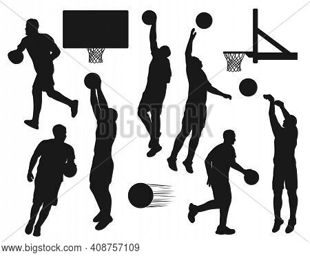Black Silhouettes Of Basketball Sport Players Throwing Balls Into Nets. Vector Sportsmen Run And Jum