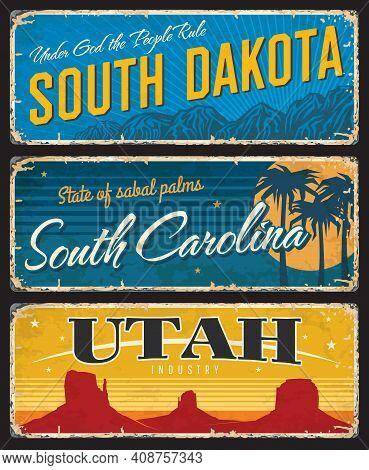 Utah, South Dakota And Carolina States Shabby Plates. America Region Retro Sign, Old Plaque With Mou