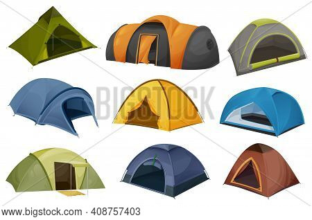 Dome And Tunnel Camping Tent Vector Icons With Isolated Tourist And Travel Equipment. Shelters For H