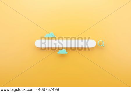 Search Bar Graphic Design With Yellow Background, 3d Render