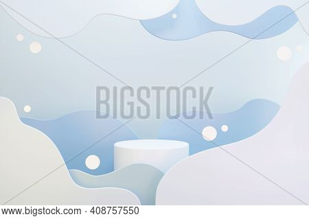 White Podium Whit Abstract Blue And Grey Clouds, Space For Text Or Product Advertising, 3d Render