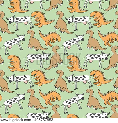 Pattern Seamless Kids With Dino Doodle Element. Hand Drawn Dinosaurs And Tropical Leaves. Cute Funny