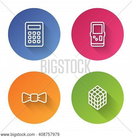 Set Line Calculator, Tetris, Bow Tie And Rubik Cube. Color Circle Button. Vector