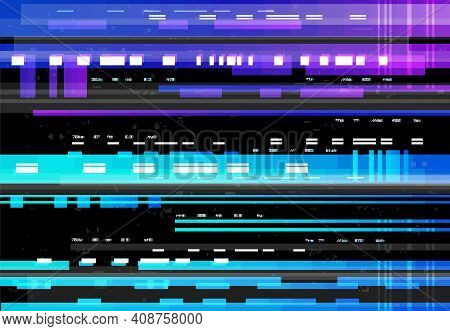 Abstract Background With Glitch Effect, Vector Glitched Distortion Colored Horizontal Stripes, Numbe