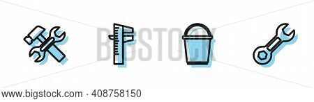 Set Line Bucket, Hammer And Wrench, Calliper Or Caliper Scale And Wrench Spanner Icon. Vector