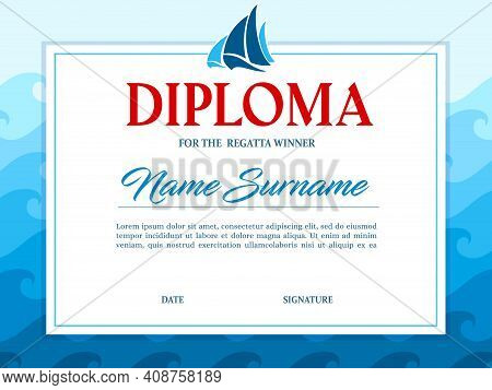 Sailing Regatta Winner Diploma Template. Yacht Sport Competition, Boat Races Tournament And Yachting