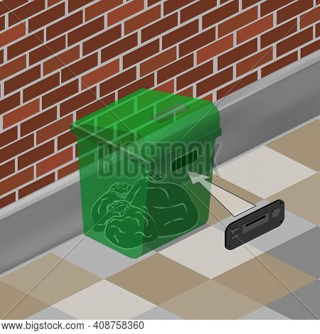 Green Dumpster On The Background Of A Brick Wall