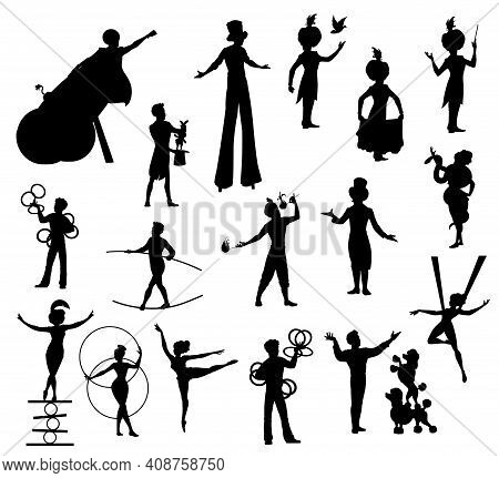 Circus Performers Black Silhouettes, Carnival Top Tent Vector Artists Clown, Acrobat And Man Cannon