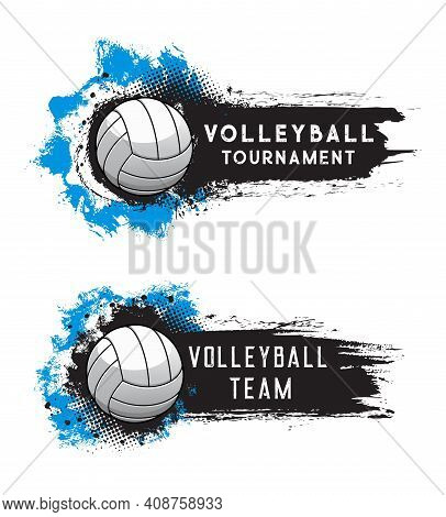 Volleyball Sport Tournament, Ball On Vector Banner Background With Grunge Halftone. Volleyball Leisu
