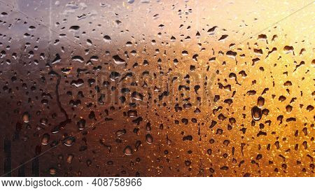 Drops Condensation On The Clear Glass Window. Water Drops. Abstract Background Texture, Condensation