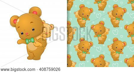 The Pattern Set Watercolor Of The Big Bear Carry Up The Little Bear On His Back Of Illustration