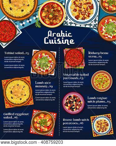 Arabic Cuisine Restaurant Menu Cover. Tahini And Grilled Eggplant Salad, Lamb Meat Rice Mansaf, Tagi