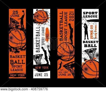 Basketball Sport League Vector Flyers, Invitation On Tournament Vintage Grunge Cards With Sportsman