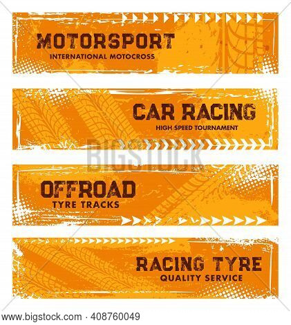 Tyre Tracks, Off Road Tire Prints, Grunge Vector Car Racing Treads With Dotted Spots Or Marks. Rally