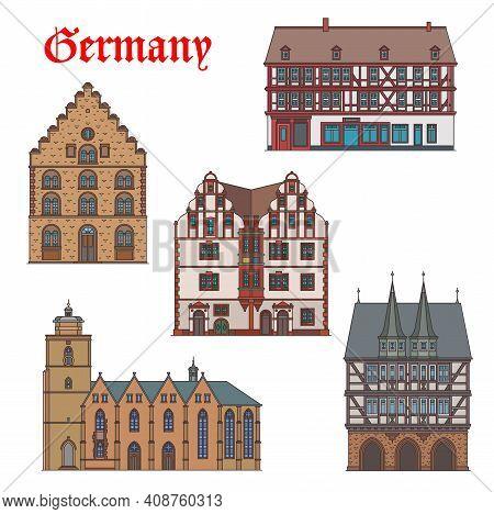 Germany Landmarks Architecture, Churches In Hessen, Vector German Travel Buildings. Stumpfhaus In Al