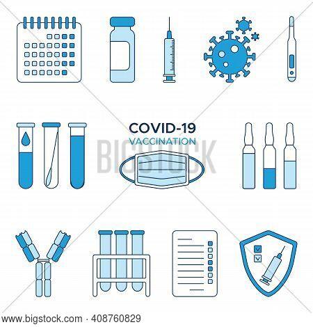 Set Of Icons Coronavirus Covid-19 Vaccination, Calendar, Ampoules Of Vaccine, Syringe, Coronavirus,