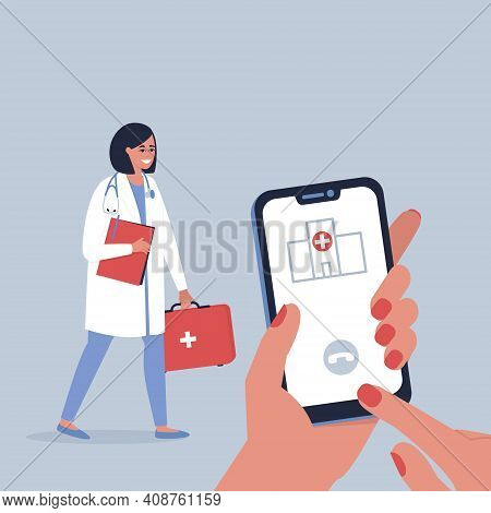 House Call For A Doctor. The Concept Of Consultation And Treatment Of Patients At Home. Doctor's Vis