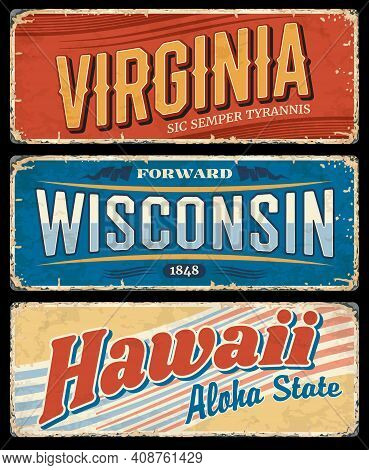 Usa State Grunge Vector Signs Of Hawaii, Virginia And Wisconsin, American Travel Or Tourism Design.