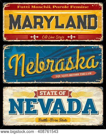 Usa Maryland, Nebraska And Nevada Vintage Vector Signs. American States Travel And Tourism Destinati